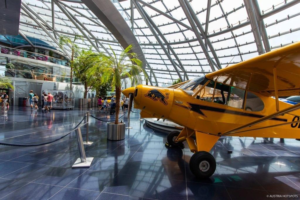 yellow cab in red bull hangar seven