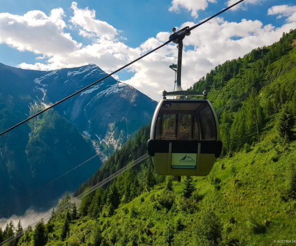 Cablecar with mountain scenery